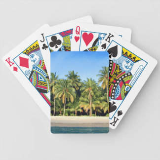 Deserted tropical island beach bicycle playing cards