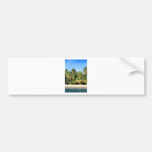 Deserted tropical island beach car bumper sticker
