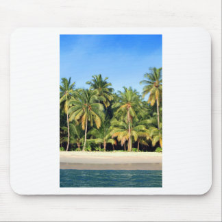 Deserted tropical island beach mouse pad
