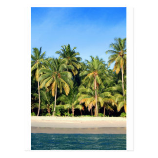 Deserted tropical island beach postcard
