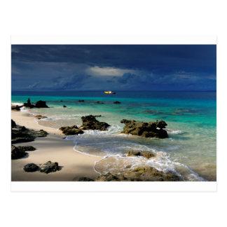 Deserted tropical island beach post card
