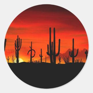 Deserts Saguaros Sonoran Arizona Round Stickers