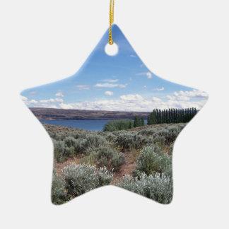 Desertscape con el río adorno navideño de cerámica en forma de estrella