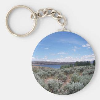 Desertscape con el río llavero redondo tipo pin