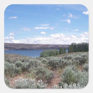 Desertscape con el río pegatina cuadrada