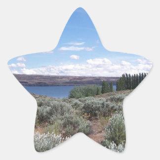 Desertscape con el río pegatina en forma de estrella