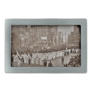 Desfile 1912 del sufragio de las mujeres hebilla de cinturón rectangular