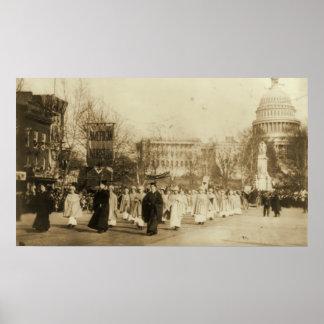 Desfile 1913 del Suffragette en la C.C. de Washing Póster