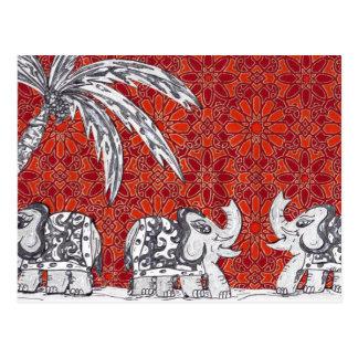 Desfile 3 del elefante tarjeta postal