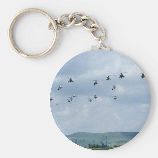Desfile de aviones del helicóptero llavero redondo tipo pin