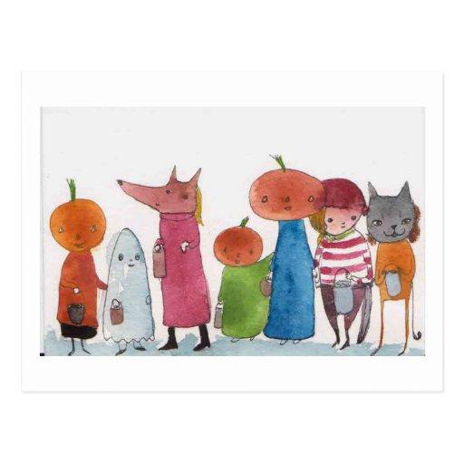 Desfile de Halloween Tarjeta Postal