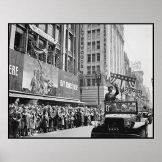 Desfile de la cinta de teletipo de general Patton Poster