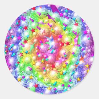 Desfile de la estrella del arco iris pegatinas redondas