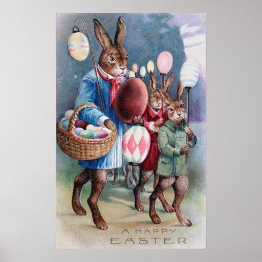 Desfile de la linterna del huevo del conejito de p póster