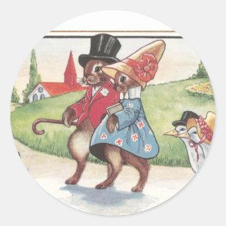 Desfile de Pascua de conejos y de patos Pegatina Redonda