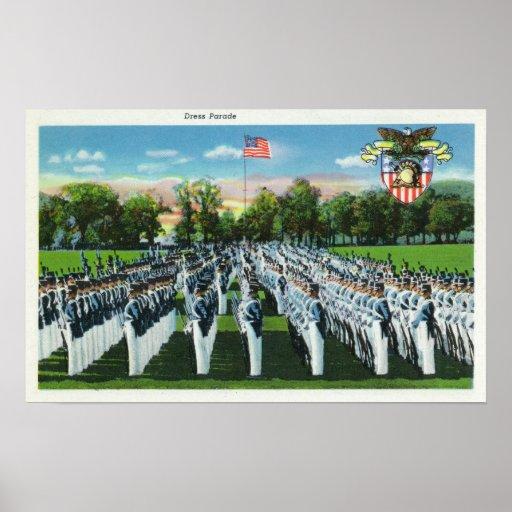 Desfile de vestido de la academia militar póster