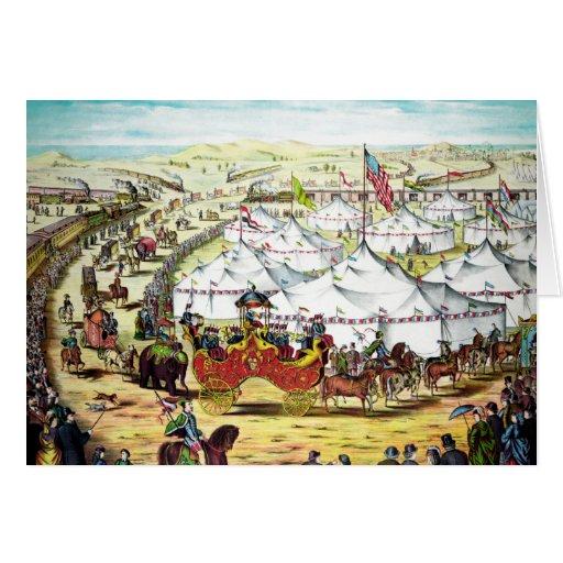 Desfile del circo del vintage felicitaciones