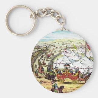 Desfile del circo del vintage llaveros