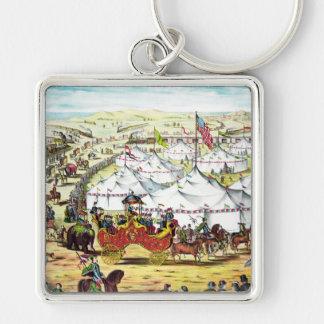 Desfile del circo del vintage llaveros personalizados
