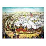 Desfile del circo del vintage postal
