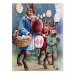 Desfile del conejito de las linternas del huevo de tarjetas postales