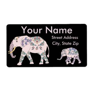 Desfile del elefante rosado etiquetas de envío