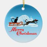 Desfile del mascota del navidad adorno redondo de cerámica