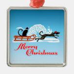 Desfile del mascota del navidad adorno cuadrado plateado