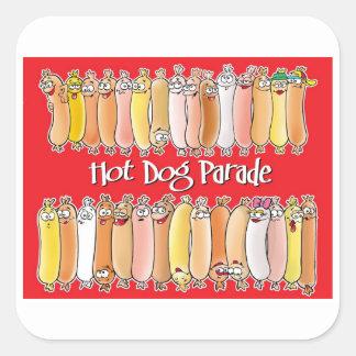 Desfile del perrito caliente con el fondo rojo calcomanías cuadradases