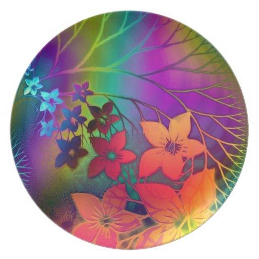 Desfile floral fabuloso del arco iris de Fractural Platos Para Fiestas