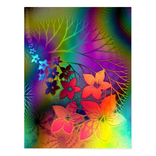 Desfile floral fabuloso del arco iris de Fractural Tarjeta Postal