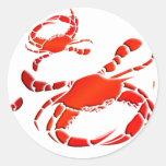Desfile rojo de los cangrejos etiqueta redonda