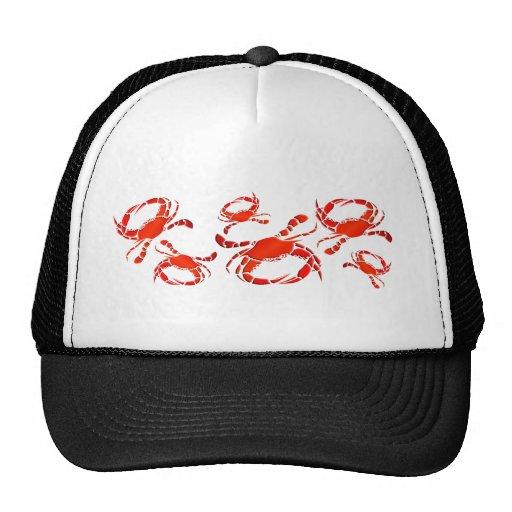 Desfile rojo de los cangrejos gorras