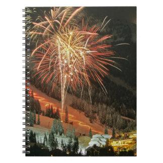 Desfile y fuegos artificiales de la luz de antorch note book