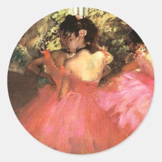 Desgasifique a los bailarines en pegatinas rosados etiquetas redondas