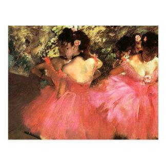 Desgasifique a los bailarines en postal rosada