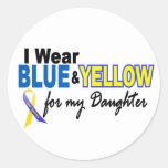 Desgaste de Síndrome de Down I azul y amarillo par Etiquetas Redondas