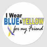 Desgaste de Síndrome de Down I azul y amarillo par Pegatinas Redondas