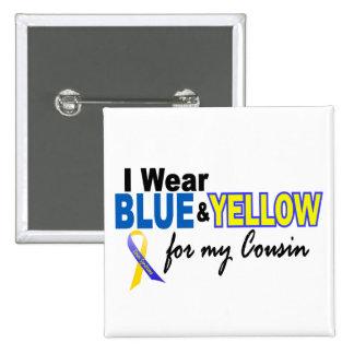 Desgaste de Síndrome de Down I azul y amarillo par Pin Cuadrada 5 Cm