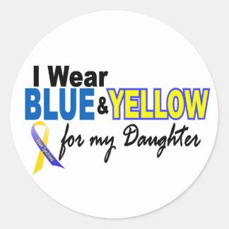 Desgaste de Síndrome de Down I azul y amarillo Etiquetas Redondas