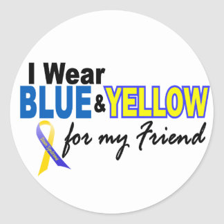 Desgaste de Síndrome de Down I azul y amarillo Pegatinas Redondas