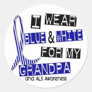 Desgaste del ALS I azul y blanco para mi abuelo 37 Etiqueta Redonda