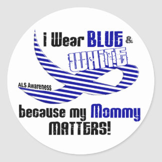 Desgaste del ALS I azul y blanco para mi mamá 33 Pegatina Redonda