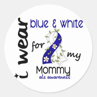 Desgaste del ALS I azul y blanco para mi mamá 43 Pegatina Redonda