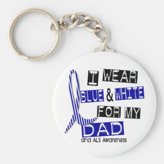 Desgaste del ALS I azul y blanco para mi papá 37 Llavero Redondo Tipo Pin