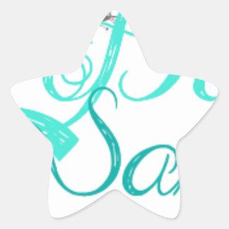 Desgaste del logotipo del gato de las muestras del pegatina en forma de estrella