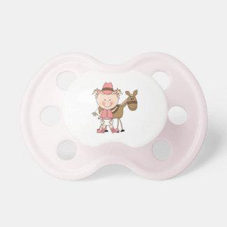 Desgaste occidental del pequeño rosa de la vaquera chupetes para bebes