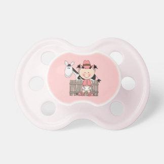 Desgaste occidental del pequeño rosa de la vaquera chupetes para bebés