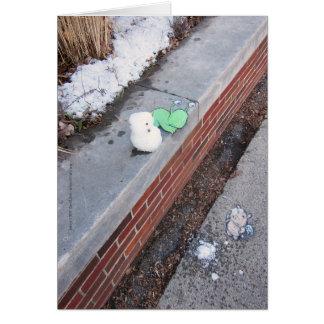 Desgracia del muñeco de nieve tarjetón