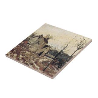 Deshielo de Camilo Pissarro-, Pontoise Azulejo Cuadrado Pequeño